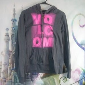 Volcom gray and pink hoodie